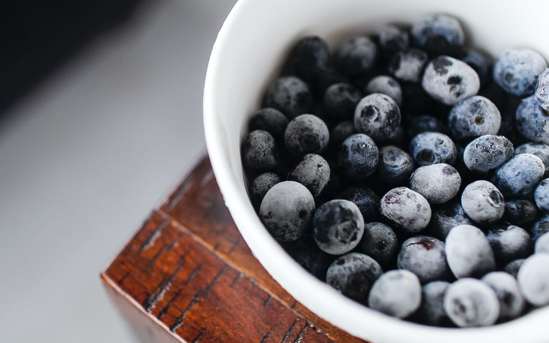 frozen blueberries in bowl